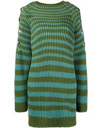 Alberta Ferretti Maxi Pullover A Righe - Verde