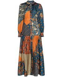 Evi Grintela Elsa Patchwork Silk Dress - Blue