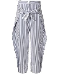 Eudon Choi Striped Cropped Trousers - Blue