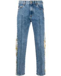 Versace Jeans Couture Baroque Print-trim Jeans - Blue