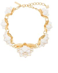 Oscar de la Renta Enamelled Wild Lotus Necklace - White