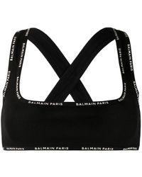Balmain ロゴ スポーツブラ - ブラック