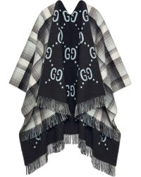 Gucci Omkeerbare Wollen GG Poncho - Grijs