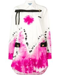 Prada Shirt Dress Met Tie-dye - Wit
