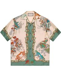 Gucci - Silk Bowling Shirt With Jousting Print - Lyst