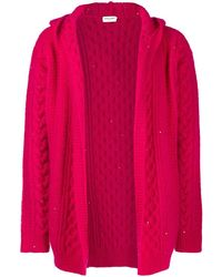 Saint Laurent Cable-knit Hooded Cardigan - Pink