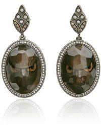 Sevan Biçakci - Owl Face Intaglio Moonstone Diamond Drop Earrings - Lyst
