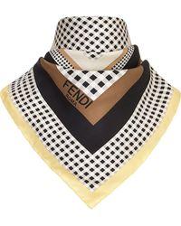 Fendi モノグラム チェック スカーフ - ブラック