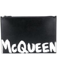 Alexander McQueen Paint Style Logo Clutch Bag - Black