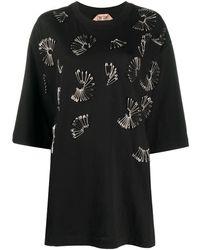 N°21 Oversized Safety-pin Embellished T-shirt - Black