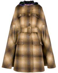 N°21 Hooded Cape Coat - Brown