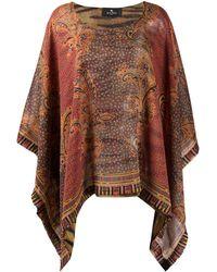 Etro Paisley-print Silk Poncho - Red