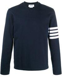 Thom Browne T-shirt a maniche lunghe con dettaglio a 4 righe - Blu