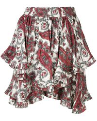 Isabel Marant Paisley Printed Ruffle Skirt - Wit