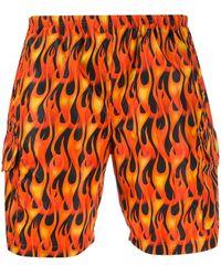 Palm Angels Maillot de bain noir et multicolore Flames - Orange