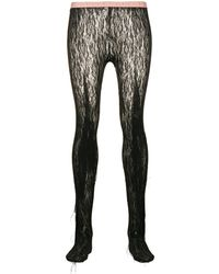 Gucci Fringed Floral Lace Tights - Black