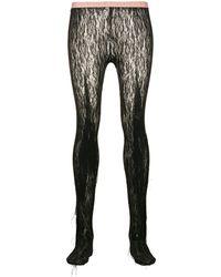 Gucci Collant en dentelle à franges - Noir