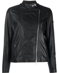 Peuterey Leather Biker Jacket - Black