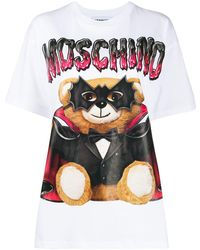 Moschino Camiseta con estampado Mask Teddy Bear - Blanco