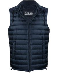 Herno Hooded Quilted-down Gilet - Blue
