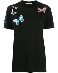 Valentino Butterfly Appliqué T-shirt - Black
