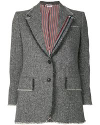 Thom Browne Frayed Wide Lapel Sport Coat - Gray