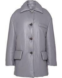Prada レザー シングルジャケット - グレー