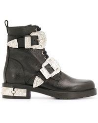 Philipp Plein Ковбойские Ботинки С Пряжками - Черный
