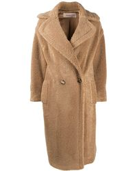 Blanca Vita Long Double-breasted Teddy Coat - Natural