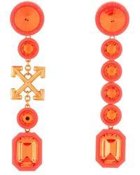 Off-White c/o Virgil Abloh Серьги-подвески С Логотипом Arrows И Кристаллами - Оранжевый