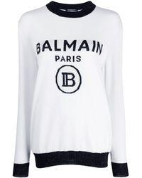 Balmain ロゴ セーター - ホワイト