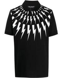 Neil Barrett Рубашка Поло С Принтом Thunderbolt - Черный