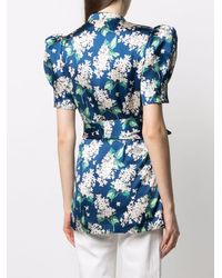 The Vampire's Wife Belted Floral-print Hammered Silk Blouse - Blue