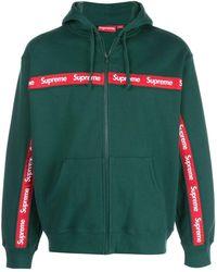 Supreme Text Stripe Zip Up Hoodie - Green