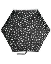 Moschino Paraguas con logo estampado - Negro
