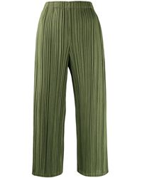 Pleats Please Issey Miyake Cropped Relaxed-fit Woven Pleated Pants - Green