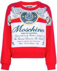 Moschino Kastiges Sweatshirt mit Print - Weiß