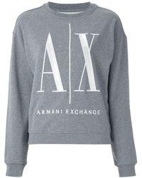 Armani Exchange Logo-embroidered Crew-neck Sweatshirt - Gray