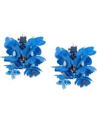Biyan Oversized-Ohrringe im Blumendesign - Blau