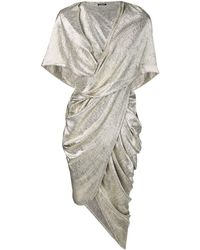 Balmain Robe asymétrique drapée - Métallisé