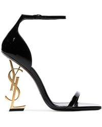 Saint Laurent Opyum Patent-leather Sandals - Black