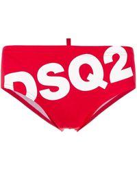 DSquared² Zwembroek Met Logoprint - Rood