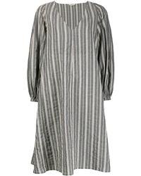 Barena Oversized Pinstripe Kaftan Dress - Gray