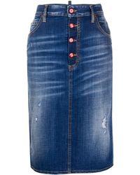 DSquared² Distressed Denim Pencil Skirt - Blue