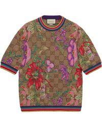 Gucci フローラル Tシャツ - ブラウン