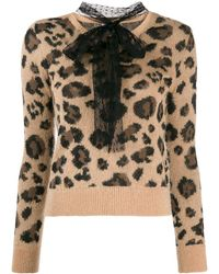 RED Valentino Pussybow Leopard Print Jumper - Multicolour