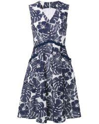 Talbot Runhof - Floral V-neck Dress - Lyst