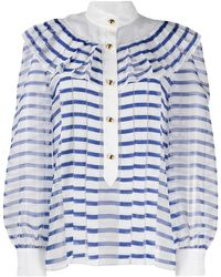 Philosophy Di Lorenzo Serafini Pleated Striped Blouse - White