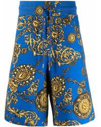Versace Jeans Couture Bermudas náuticas con estampado Barocco - Azul
