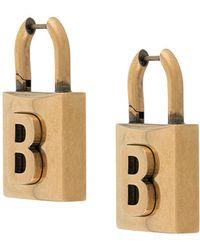 Balenciaga Серьги В Виде Подвесного Замка С Логотипом - Металлик